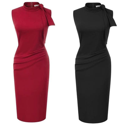 Ingrid Mock Collar Pencil Dress, Women's Dresses, BEL EPOQ