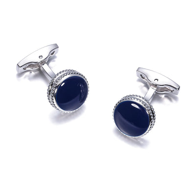 Into The Blue Round Cufflinks, Men's Jewellery, BEL EPOQ