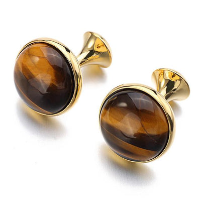 Logan Tiger's Eye Gold-Plated Cufflinks, Men's Jewellery, BEL EPOQ
