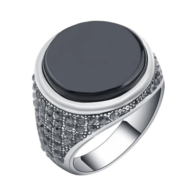Vitali Crystal Noir Signet Ring, Men's Jewellery, BEL EPOQ