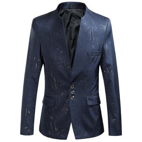 Dominic Mandarin Collar Three-Button Blazer, Men's Blazers, BEL EPOQ
