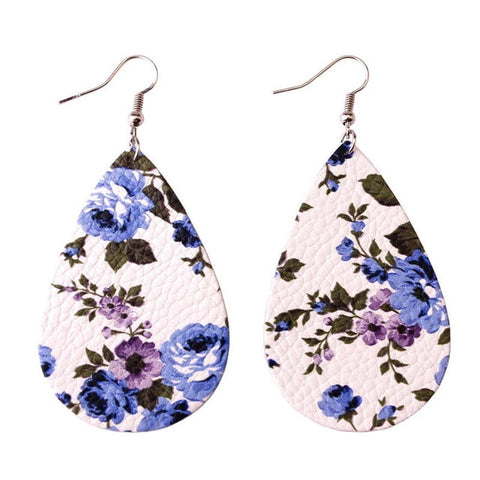 Dixie Floral Print Leather Drop Earrings, Women's Jewellery, BEL EPOQ