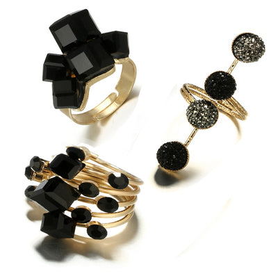 It's Art Darling Abstract Noir Crystal Rings, Women's Jewellery, BEL EPOQ