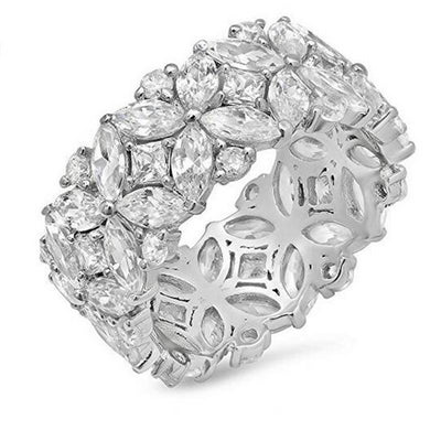 Estella Sterling Silver Cubic Zirconia Flower Ring, Women's Jewellery, BEL EPOQ