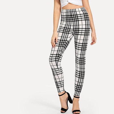 Nova High-Waisted Monochrome Plaid Leggings, Women's Pants, BEL EPOQ