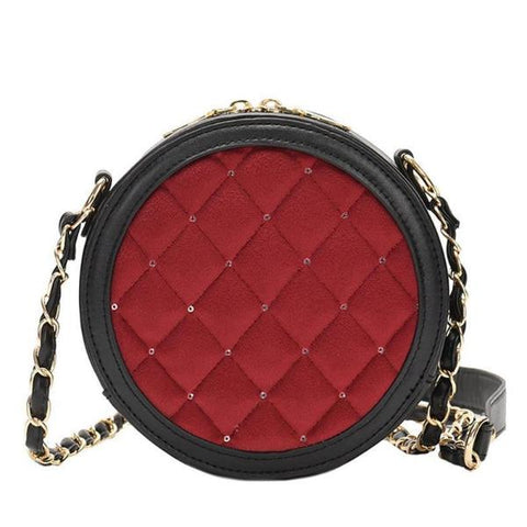 Vivi Velour Diamond Lattice Round Crossbody Bag, Women's Bags, BEL EPOQ