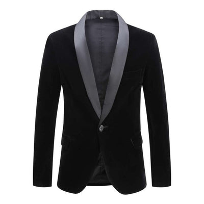 Heath Velvet Shawl Lapel One-Button Blazer, Men's Blazers, BEL EPOQ