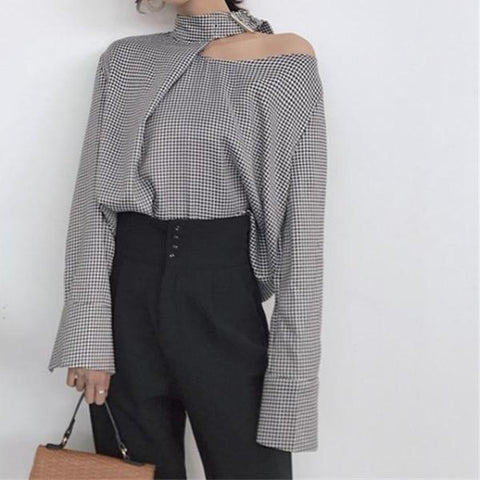 Mara Buckle Collar Cut-Out Shoulder Houndstooth Blouse, Women's Tops, BEL EPOQ