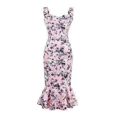 Sweetheart Trumpet Hem Floral Midi Dress, Women's Dresses, BEL EPOQ