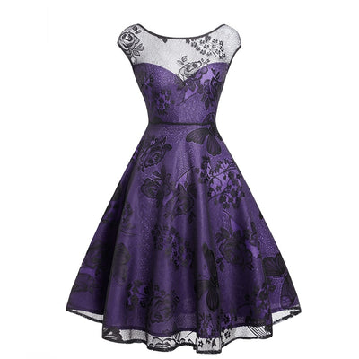 Violette Lace Overlay Party Swing Dress, Women's Dresses, BEL EPOQ