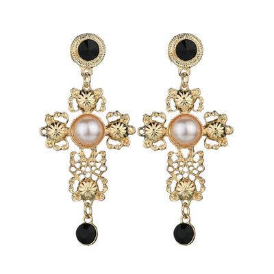 Like A Prayer Filigree Pearl Cross Earrings, Women's Jewellery, BEL EPOQ
