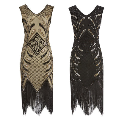 Adaline Roaring '20s Flapper Fringe Dress, Women's Dresses, BEL EPOQ