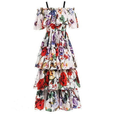 Rustic Romance Floral Print Tiered Maxi Dress, Women's Dresses, BEL EPOQ