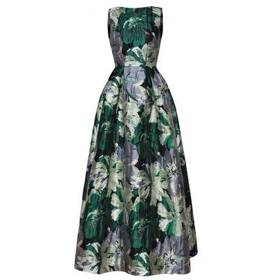 Cordelia Sleeveless Floral Jacquard Swing Evening Dress, Women's Dresses, BEL EPOQ