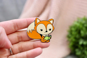 Fox Reading a Book - Enamel Pin