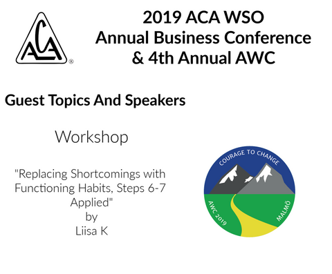 2019 AWC - Replacing Shortcomings with Functioning Habits - Liisa K (Finland) (CD not available; download only)