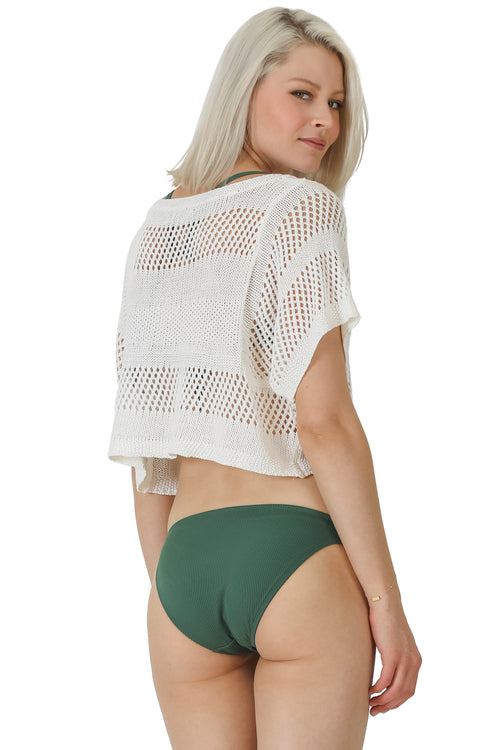 Cropped Mesh Coverup Top