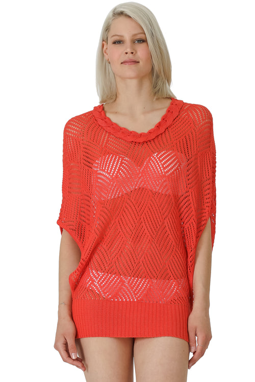 Pointelle Dolman Sleeve Coverup Top