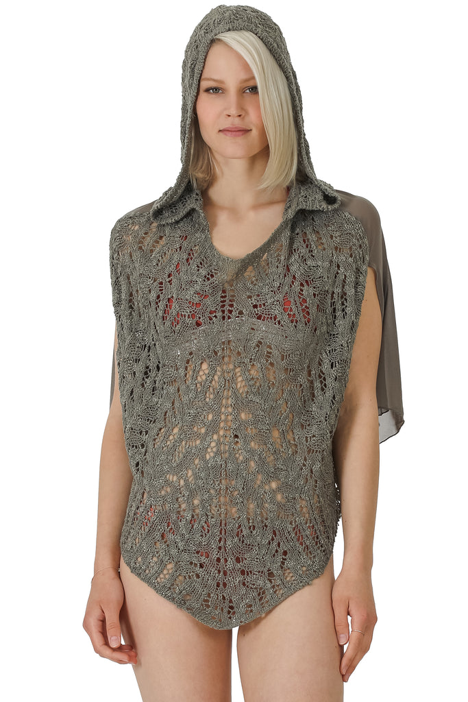 SHEER BACK PEBBLE STITCH FRONT HOODED COVERUP TOP