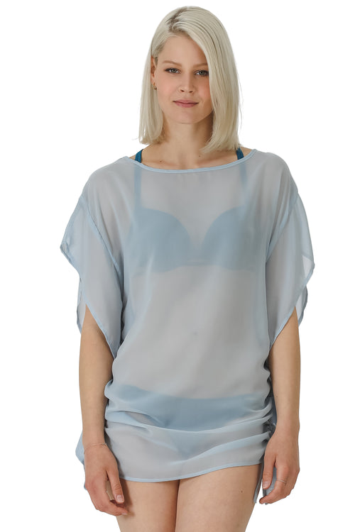 Side Drawstring Chiffon Coverup Tunic