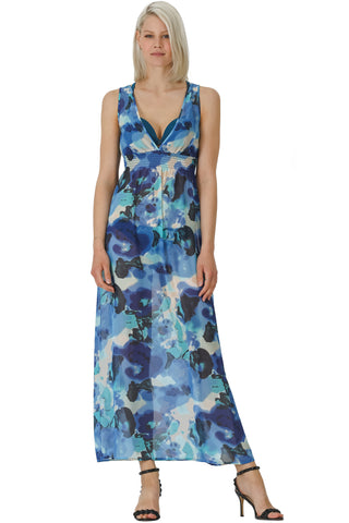 A-line Printed Chiffon Elastic Shirred Long Tank Dress