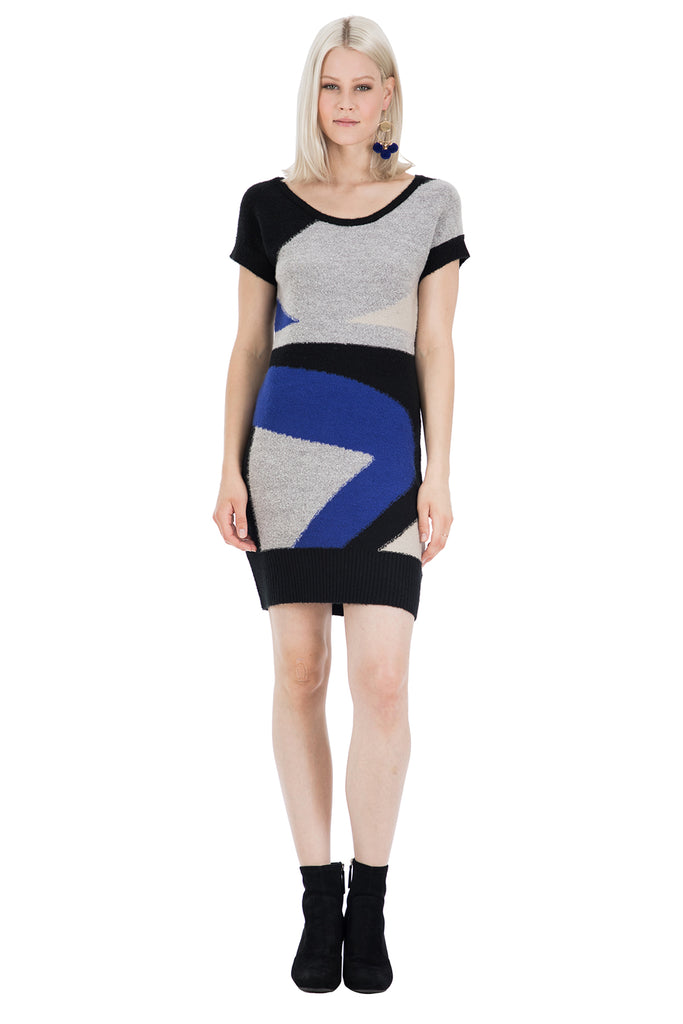 Abstract Jacquard Sweater Dress