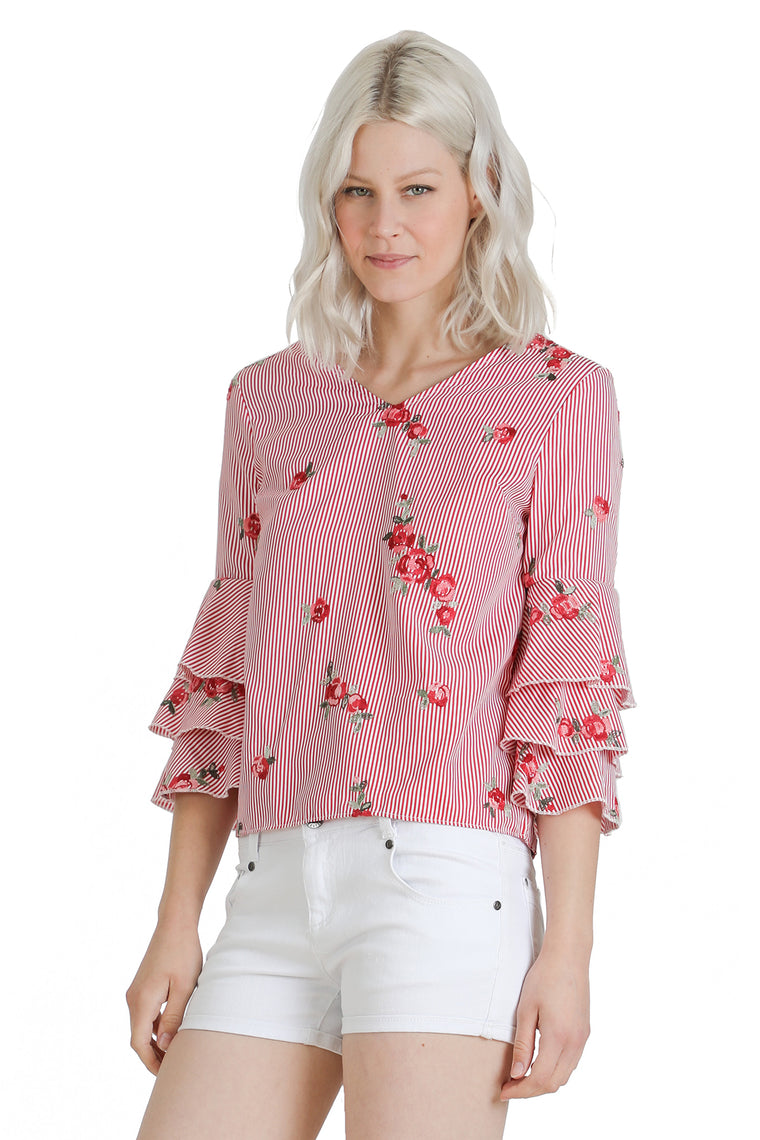 Striped Flower Cutout Accent Top
