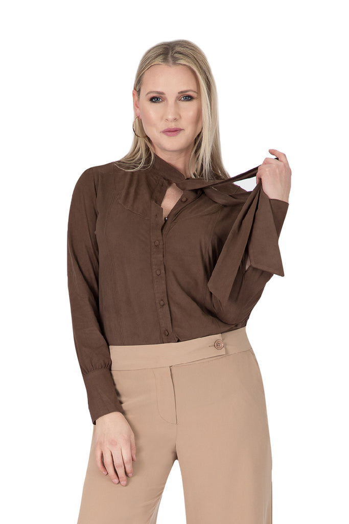 Suede Button-Front Neck Tie Top