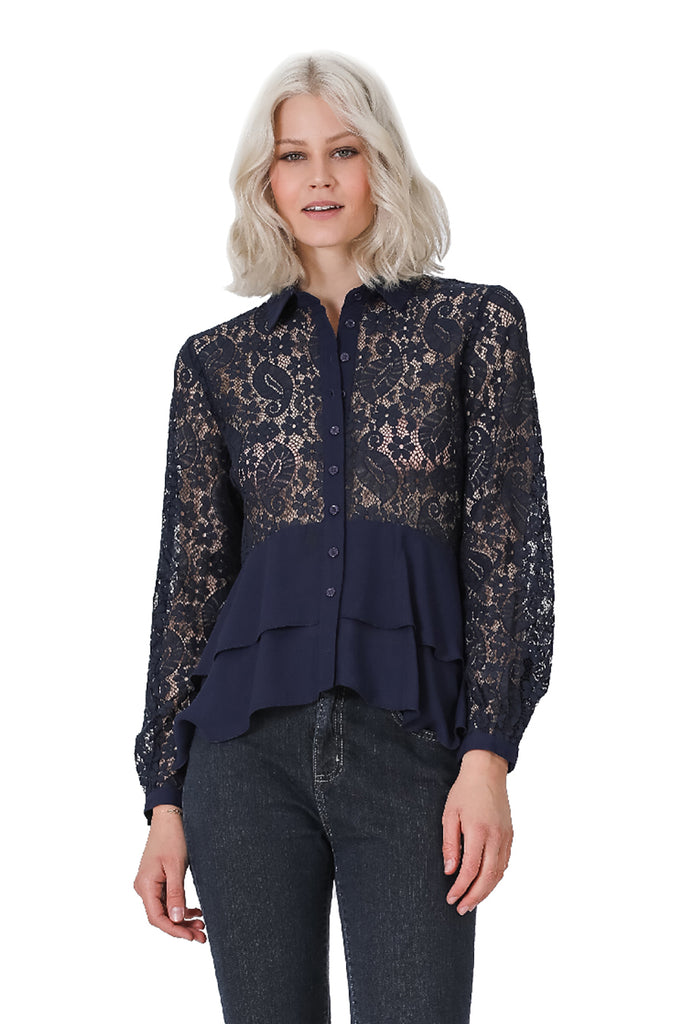 Long Sleeve Tiered Lace Top