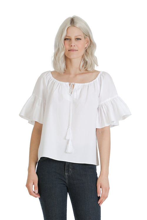 Off Shoulder Tie Woven Blouse