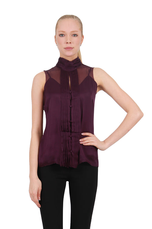 Silk Pleated Sleeveless Blouse