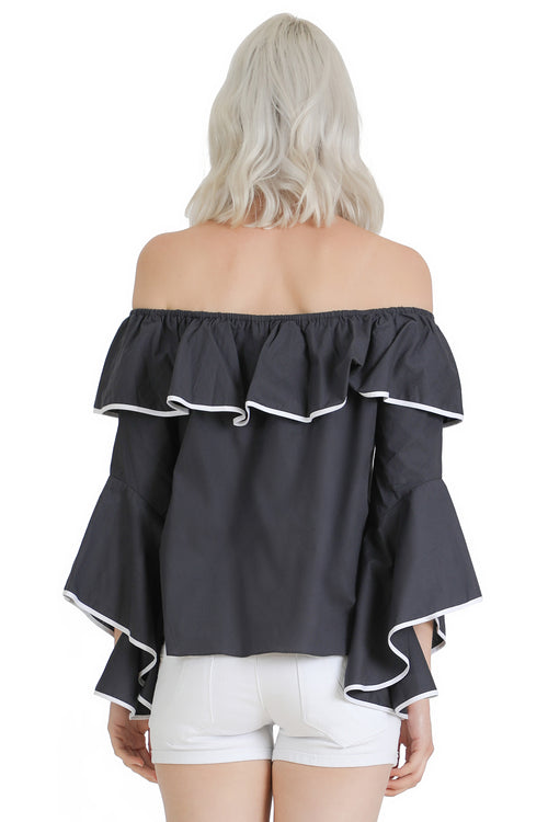Piped Off-the-Shoulder Top