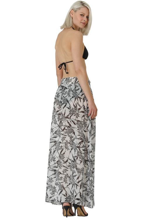 Printed Elastic Shirred Waist Chiffon Coverup Skirt