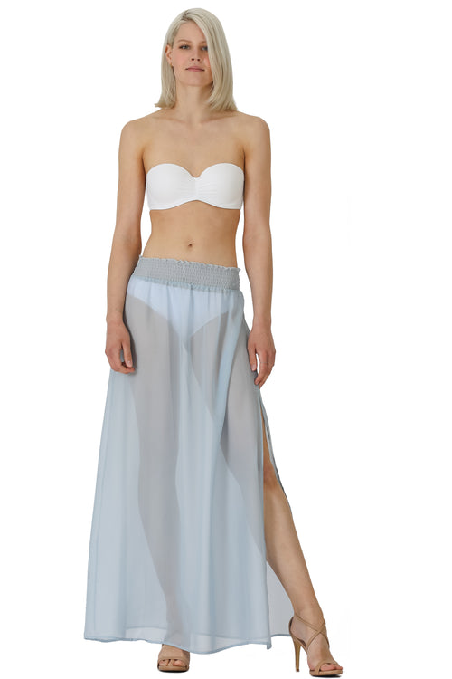 Elastic Shirred Waist Chiffon Coverup Skirt