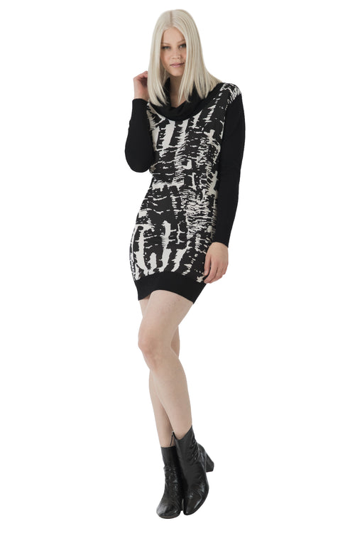 Cowl Neck Printed Sweater Dress