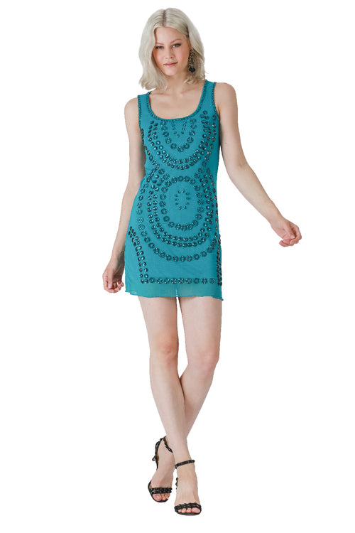 Look Into my Crystal Ball Beaded Tank Dress