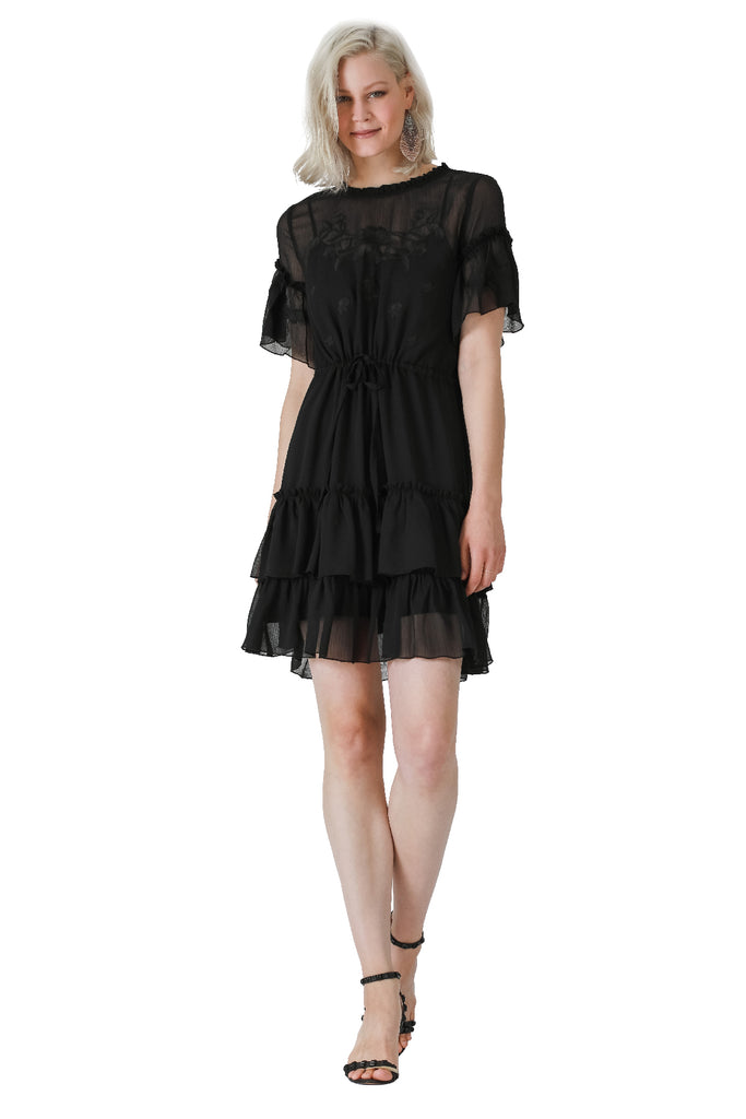 For His Smile Tiered Chiffon Dress