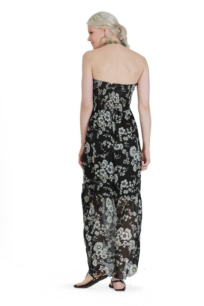 Strapless Allover Printed Maxi Dress