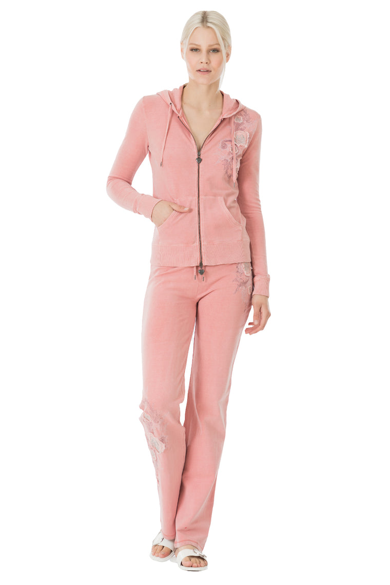 Rose Embroidered Hoodie & Pants Set