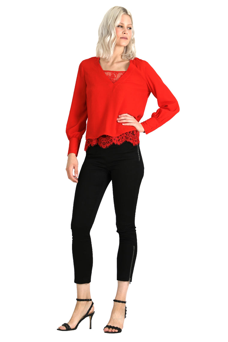 Long Sleeve Lace Insert Cami Blouse