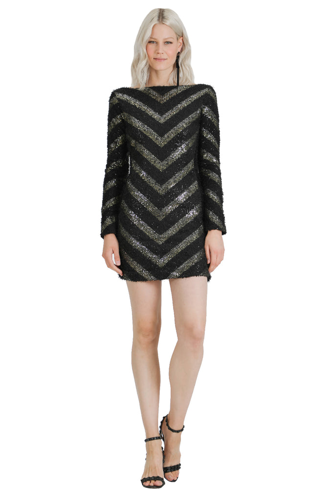 Freya Sequin Chevron Dress