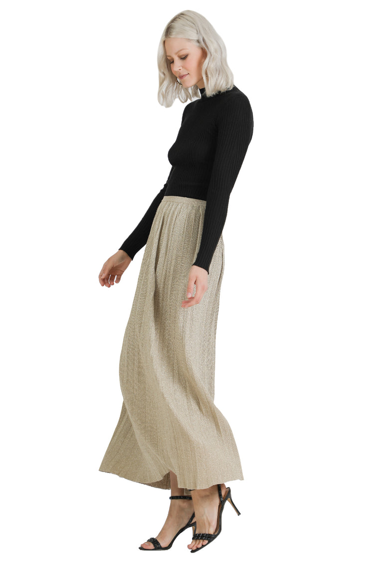 Cynthia Pleated Metallic Skirt