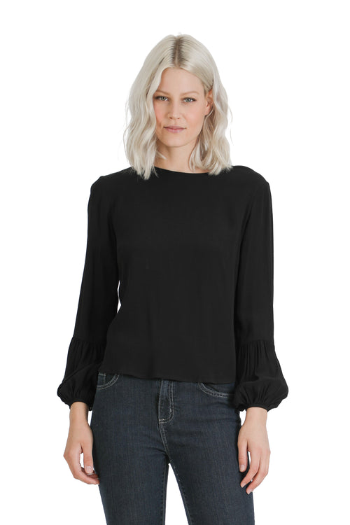 Chiffon Pleated Sleeve Blouse