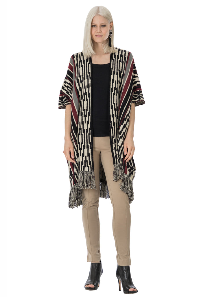 Zenway Bold Stripe Sweater Cape