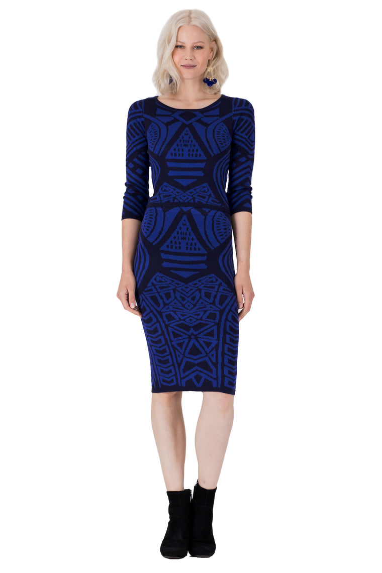 Deja Vu Jacquard Sweater Pencil Skirt