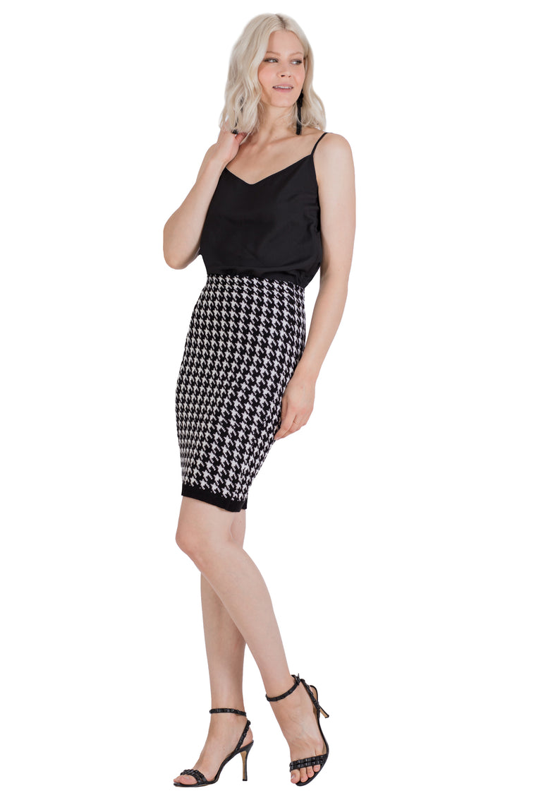 Prosper Houndstooth Sweater Suit Skirt