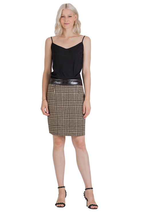 Jacqie O Houndstooth Jacket Suit Skirt