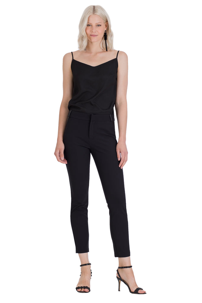 Pretenders Faux Leather Trimmed Cigarette Pant