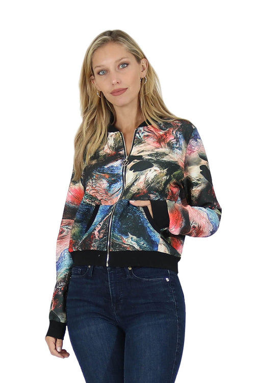 Printed Woven Bomber Jacket
