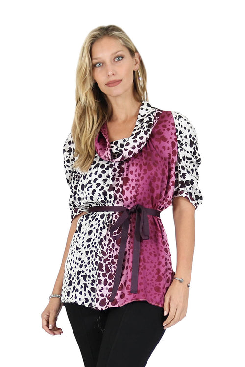 Printed Cowl Neck Satin Blouse